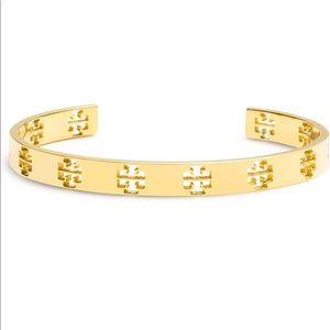 Tory Burch Gold Pierced T Cuff Bracelet